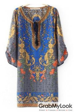 Blue Vintage Round Neck Ethnic Indian Half Sleeves Loose Dress