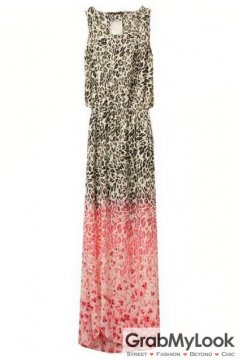 Sleeveless Bohemia Leopard Brown Pink Chiffon Maxi Dress