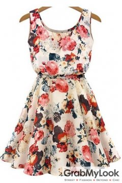 Beige Tan Flower Floral Print Vest Sleeveless Skater Dress