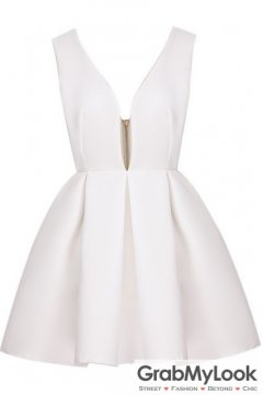 White Backless Midriff Flare V Neck Zipper Dress