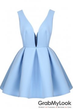 Sky Blue Backless Midriff Flare V Neck Zipper Dress