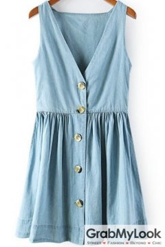 Blue Denim Sleeveless V Neck Button Up Dress
