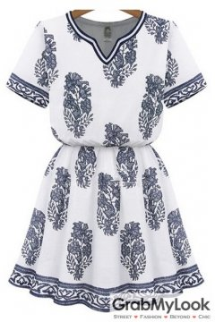 White Vintage Floral Demure Mini Summer Dress
