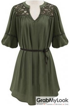 Green Half Sleeves Lace V Neck Summer Dress