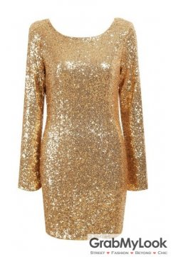 Gold Sequined Party Long Sleeves Backless Bodycon Dress