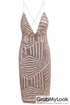 Pink Sequined Spaghetti Straps Sleeveless Bodycon Dress