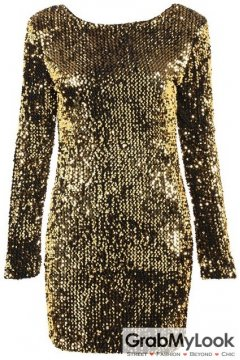 Sequined Gold Yellow Party Long Sleeves Bodycon Dress
