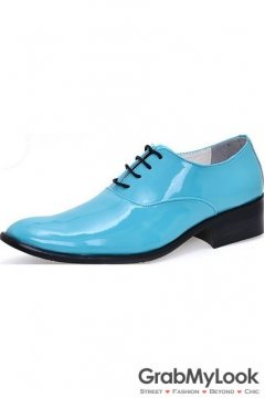 Blue Turquoise Patent Glossy Fancy Color Leather Lace Up Point Head Mens Oxfords Shoes