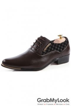 Dark Brown Patent Leather Checkers Print Lace Up Point Head Mens Oxfords Shoes