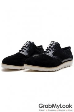 Black Patent Suede Leather Lace Up White Sole Mens Oxfords Sneakers Shoes