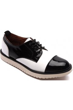 Black White Leather Lace Up White Thick Sole Platforms Oxfords Sneakers Mens Shoes