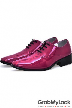 Pink Patent Glossy Fancy Color Leather Lace Up Point Head Mens Oxfords Shoes