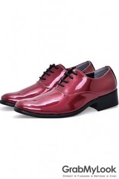 Purple Patent Glossy Fancy Color Leather Lace Up Point Head Mens Oxfords Shoes