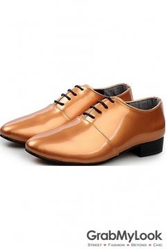 Gold Brown Metallic Glossy Patent Leather  Lace Up Point Head Mens Oxfords Shoes