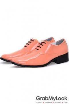 Orange Patent Glossy Fancy Color Leather Lace Up Point Head Mens Oxfords Shoes