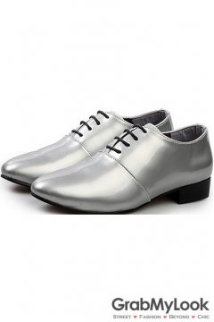 Silver Grey Metallic Glossy Patent Leather Lace Up Point Head Mens Oxfords Shoes