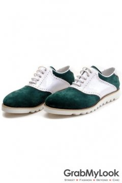 Green Patent Suede Leather Lace Up White Sole Mens Oxfords Sneakers Shoes