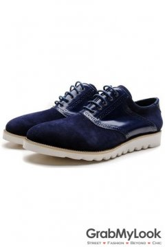 Blue Patent Suede Leather Lace Up White Sole Mens Oxfords Sneakers Shoes