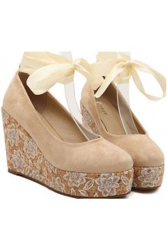 Brown Suede Floral Platforms Round Head Ankle Straps Wedges Women Ballerina Shoes