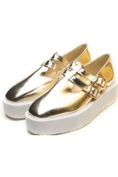 Gold Metallic Punk Rock Straps White Sole Platforms Women Oxfords Shoes
