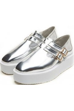 Silver Metallic Punk Rock Straps White Sole Platforms Women Oxfords Shoes
