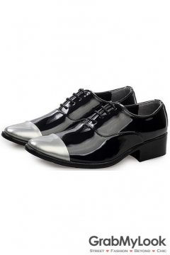 Black Patent Leather Silver Tip Lace Up Point Head Mens Oxfords Shoes