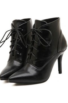 Black Point Head Lace Up Stiletto Pump Heels Shoes Ankle Women Boots Shoes