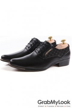 Black Patent Leather Checkers Print Lace Up Point Head Mens Oxfords Shoes