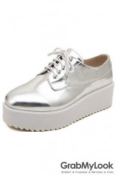 Silver Metallic Shiny Leather White Platforms Sole Lace Up Women Oxfords Shoes