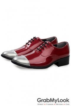 Burgundy Red Patent Leather Silver Tip Lace Up Point Head Mens Oxfords Shoes