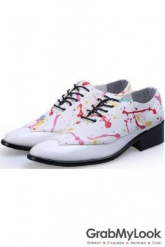 White Patent Leather Painting Lace Up Point Head Mens Oxfords Shoes