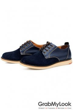 Blue Suede Leather Lace Up Mens Oxfords Sneakers Shoes