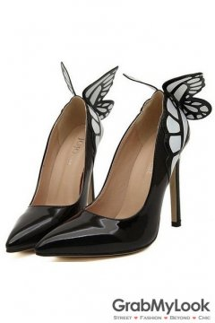 Black Patent Leather Butterfly Back Stiletto High Heels Women Pump Shoes
