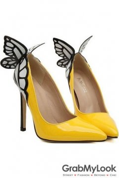 Yellow Patent Leather Butterfly Back Stiletto High Heels Women Pump Shoes