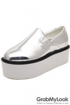 Silver Chrome White Punk Rock Lace Up Platform Sneakers Loafers Oxfords Women Shoes