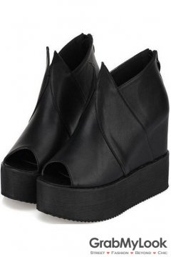 Open Toe Gothic Black Punk Rock Platforms Wedges Women Shoes Boots