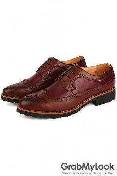 Red Burgundy Vintage Leather Baroque Lace Up Mens Oxfords Shoes
