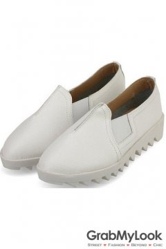 White Leather White Zig Zag Thick Sole Loafers Flats Women Oxfords Shoes