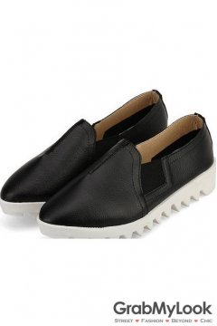 Black Leather White Zig Zag Thick Sole Loafers Flats Women Oxfords Shoes