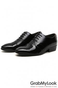 Patent Leather Black Lace Up Point Head Mens Oxfords Shoes