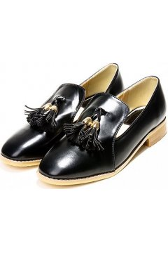 Black White Patent Leather Tassels Flats Women Heels Oxfords Shoes