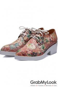 Vintage Flower Pattern Orange Lace Up White Platforms Sole Heels Oxfords Women Shoes