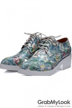 Vintage Flower Pattern Turquoise Green Lace Up White Platforms Sole Heels Oxfords Women Shoes