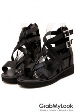 Black Leather Straps Ankle Flat Gladiator Women Sandals Shoes Flats