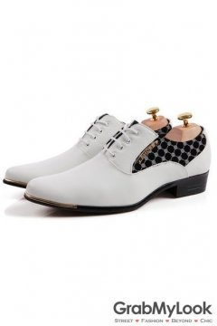 White Patent Leather Checkers Print Lace Up Point Head Mens Oxfords Shoes