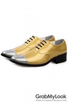 Gold Patent Leather Silver Tip Lace Up Point Head Mens Oxfords Shoes