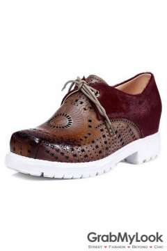 Brown Suede Vintage Ethnic Pattern Blunt Head Lace up Punk Gothic Platforms Women Oxfords Shoes