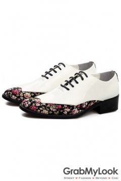Multi Color Patent Leather Flower Lace Up Point Head Mens Oxfords Shoes