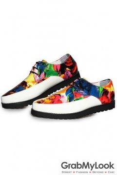 Black White Patent Leather Colorful Painting Lace Up Point Head Mens Oxfords Shoes