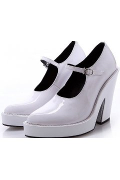 Black White Patent Leather Gothic Point Head Platforms High Heels Women Wedges Shoes